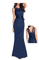 Длинное Вечернее Платье Русалка из Синего Гипюра с открытой спиной DL-6809-4
