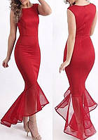 """DL-60615-3 Длинное вечернее красное платье силуэта """"рыбка"""""""