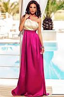 DL-60657 Атласное Вечернее Платье В Пол Малиновое