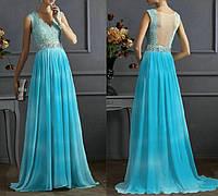 DL-1700 Выпускное голубое макси платье с V-вырезом