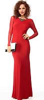 DL-6924-2 Красное Платье Макси с Сеткой Рукавами на Свадьбу