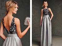 Вечернее Длинное Платье на Выпускной Серебристо Серого Цвета DL-19508