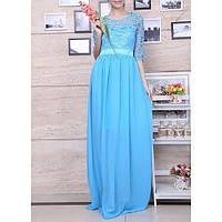DL-81344-2 Вечернее Голубое Платье в Пол с Рукавами на Выпускной