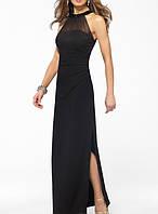 DL-510-1  Длинное чёрное вечернее платье халтер сетка сборка