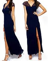 DL-6612-1 Вечернее синее кружевное платье на выпускной