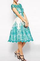 Бело Бирюзовое Вечернее Платье Короткое Пышное на Свадьбу RSG-2235
