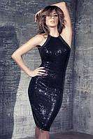 MD-6867 Блестящая сексапильность черного клубного миди платья