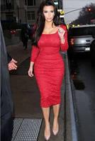 SH-101112-2 Красное Кружевное Платье Карэ