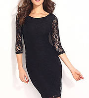 Вечернее Гипюровое Платье по Колено Лодка Рукава из каталога маленькое черное платье DM-6287