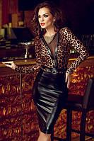 Коктейльное платье до колен с тигровым принтом и кожаной юбкой MD-60593