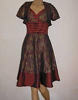 Бордовое платье с модным гобеленовым принтом + болеро ,MD-585