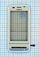 Тачскрин сенсорное стекло для Nokia C6 Original with frame white