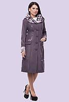 Женское демисезонное пальто плащ с касивым воротником большого размера 50-64 размер