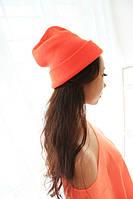 Шапка женская Ярко оранжевая(карраловая).