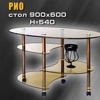 Журнальный столик из стекла бронза арт.010
