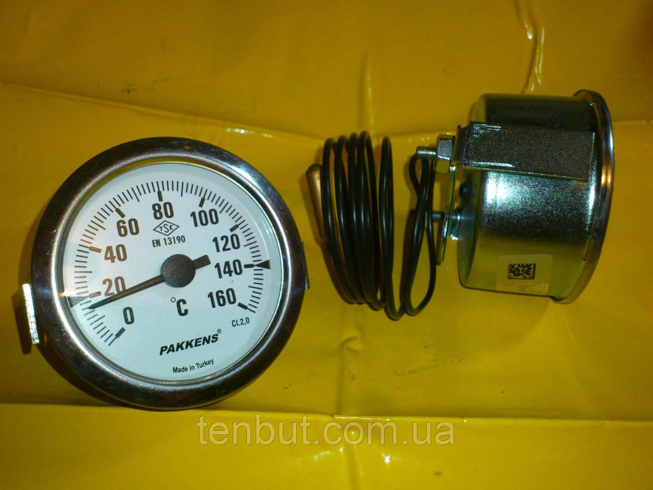 Термометр металлический 160 ℃ / Ø-60 мм. с капилляром 1-метр. PAKKENS производство Турция