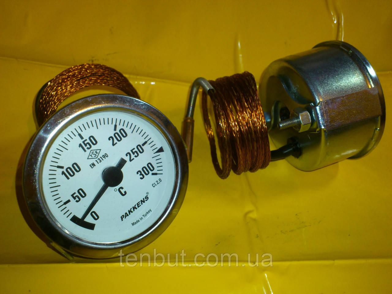 Термометр металлический 300 ℃ / Ø-60 мм. с капилляром 1-метр. PAKKENS производство Турция