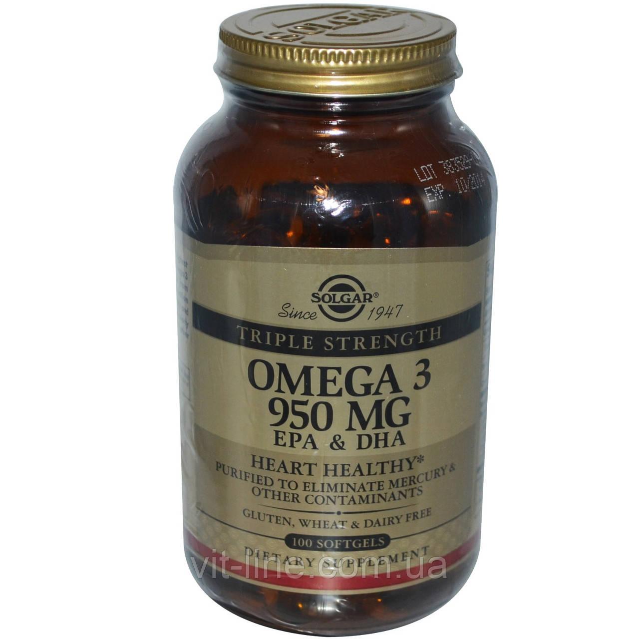 Solgar, Омега-3 Тройная сила, 950 мг, 100 капсул