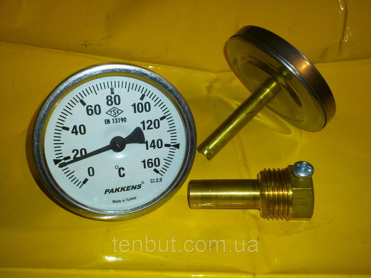 Термометр трубчатый PAKKENS  0-160°C град. / диаметр Ø 63 мм./ длина 50 мм.
