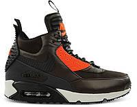 Мужские кроссовки Nike Air Max 90 Sneakerboot Winter Water Resistant (Найк Аир Макс) коричневые