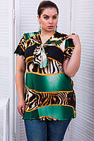 Туника летняя нарядная средней длины с коротким рукавом и декоративным воротом большого размера 50-52