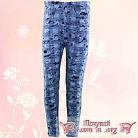 Байковые лосины джинсового цвета для девочек от 5 до 8 лет (4847-1)