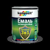 Эмаль антикоррозионная Kompozit 3 в 1 серебристая 10кг