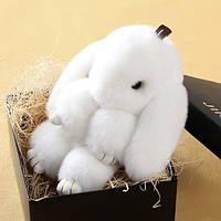 Белый брелок Зайка из меха в стиле Рекс Фенди Большой , фото 1