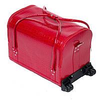 Бьюти Кейс для косметики на колесах с ручкой, красный , фото 1