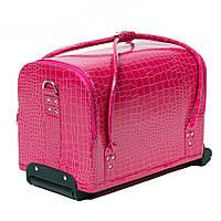 Бьюти Кейс для косметики на колесах с ручкой, розовый
