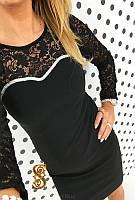 Платье Французский трикотаж+гепюр код 519 (ОЛС)
