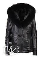Зимняя кожаная куртка с мехом песца, фото 1