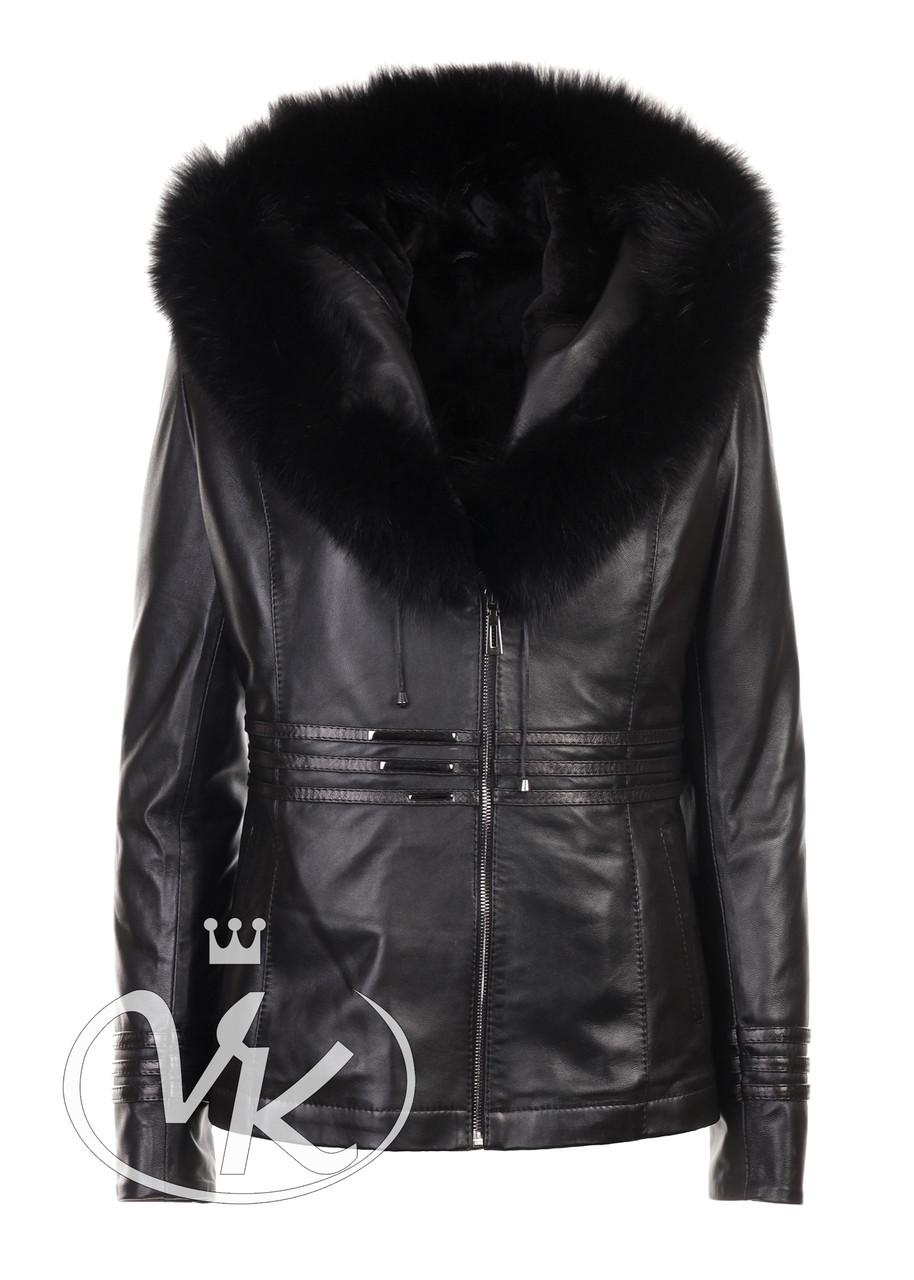 Женская зимняя кожаная куртка с капюшоном короткая (Арт. LIN202-3)