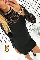Платье Французский трикотаж+гепюр код 518 (ОЛС)