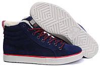 Зимние замшевые кроссовки Adidas Runsom Fur, Адидас с мехом синие