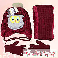 Зимний набор для мальчика от 2 до 5 лет Шапка, хомут и перчатки (4852-2)