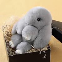 Меховой брелок Кролик Серый в стиле Рекс Фенди Большой , фото 1