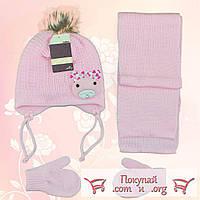 Детский набор для девочек шарф, шапка и варежки Возраст: 1- 2 года (4853-7)