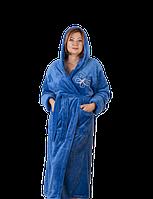 Махровый женский халат длинный