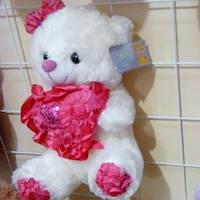 Мишка с сердцем,белый,мягкая игрушка сан тоис~ 20см