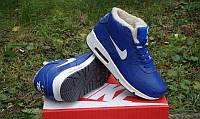 Кроссовки зимние Nike Air Max 90 кожаные синие
