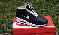 Кроссовки зимние Nike Air Max 90 кожаные черные