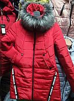 Модная женская куртка с мехом (42-50), доставка по Украине