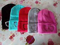 """Детская зимняя шапка двойная   """"Очки"""" на девочку. Разные цвета. Оптом., фото 1"""