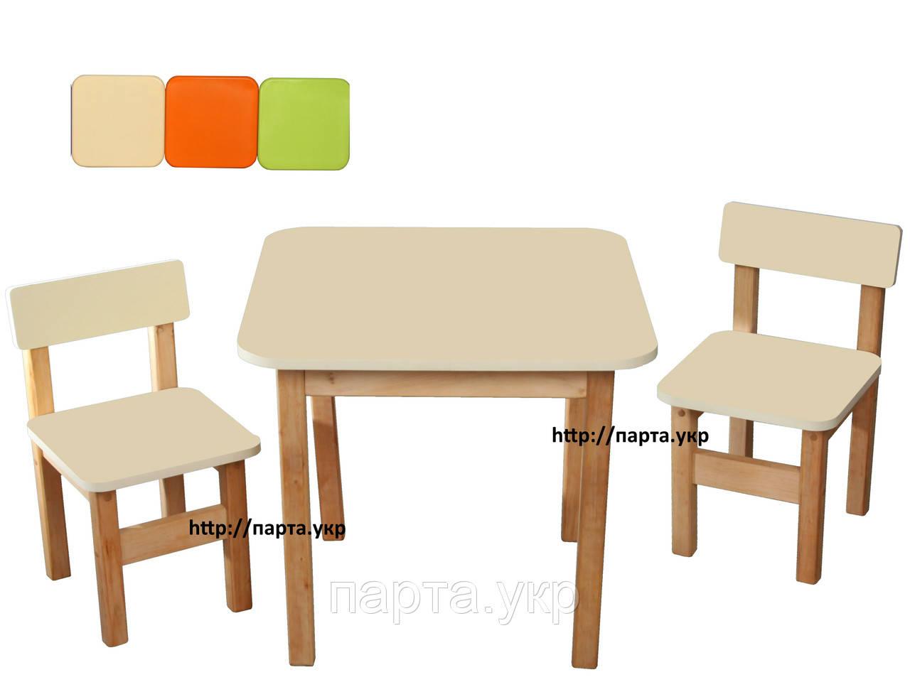 Детский набор Стол и 2 стульчика, ольха/мдф