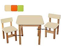 Детский набор Стол и 2 стульчика, ольха/мдф, фото 1