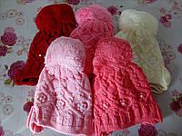 """Детская зимняя шапка на флисе  """"Косичка"""" на девочку. Разные цвета. Оптом., фото 1"""