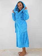 Женский махровый халат длинный с капюшоном и карманами, цвет бирюза