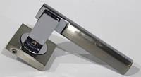 Дверна ручка NERRO  SN/CP  планка квадрат  (колір: шліфований нікель / полірований хром), фото 1