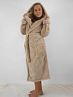 Женский махровый халат длинный с капюшоном и карманами, бежевый цвет
